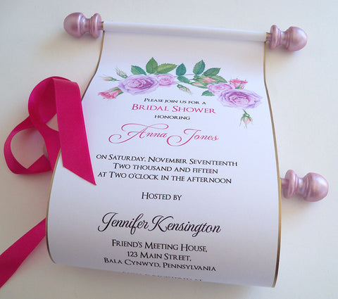 Bridal shower invitation scroll with watercolor roses, set of 10
