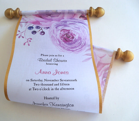 Summer garden bridal shower invitation scrolls in pink blush and gold, set of 10 scrolls