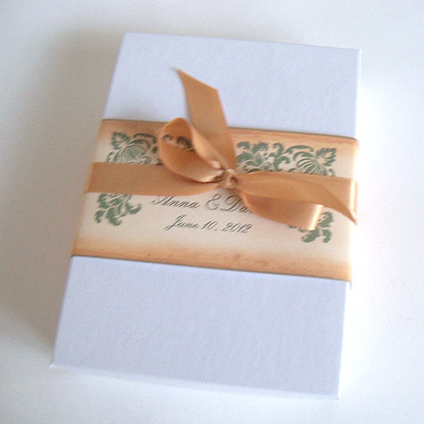 Rustic wedding invitation scroll suite, boxed, damask corners