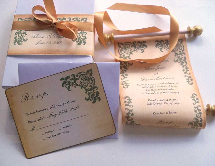 Rustic wedding invitation scroll suite, boxed, damask corners ...