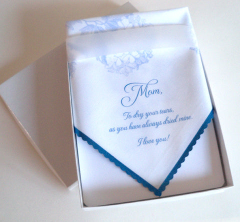 Mother of the bride wedding handkerchief favor, boxed, periwinkle blue hydrangeas