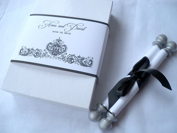 Black and white wedding invitation suite with scroll, in a box, set of 25
