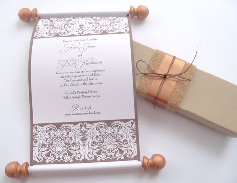 Vineyard wedding invitation scrolls in copper and truffle, box with cork accent