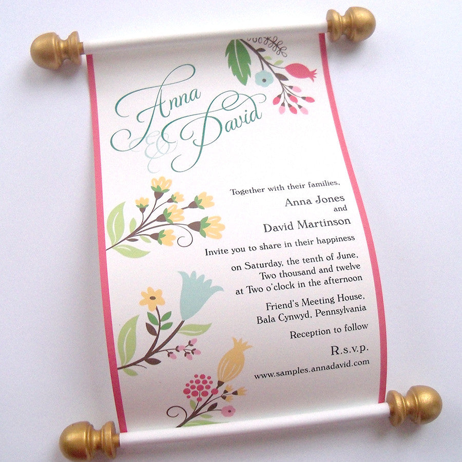 modern flowers wedding invitation scroll in coral pink and gold