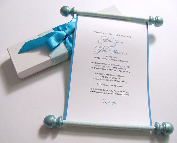 Elegant wedding invitation scroll with aged damask, boxed