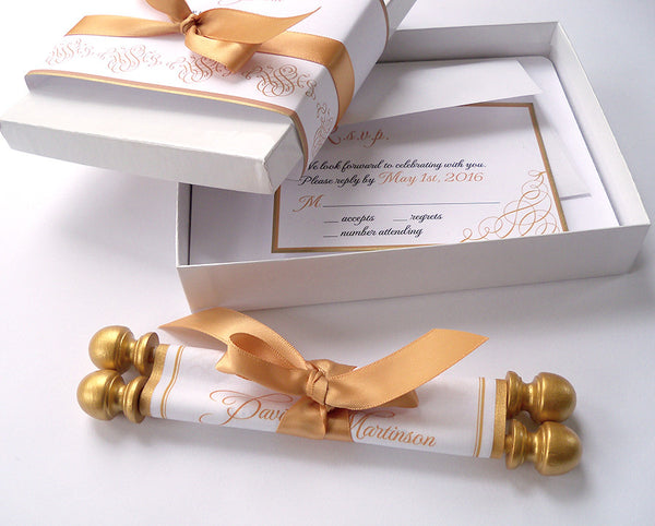 Gold calligraphy wedding invitation scroll suite