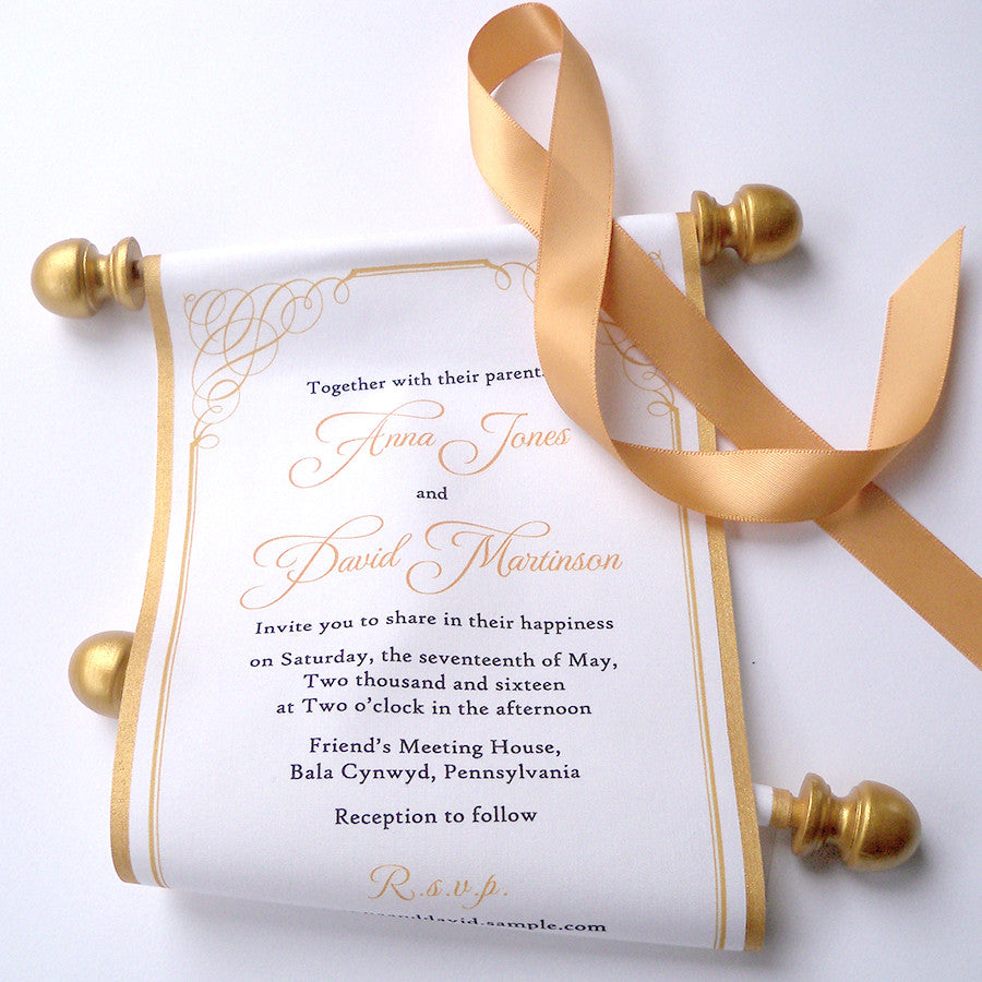 Gold calligraphy wedding invitation scroll suite – Artful Beginnings