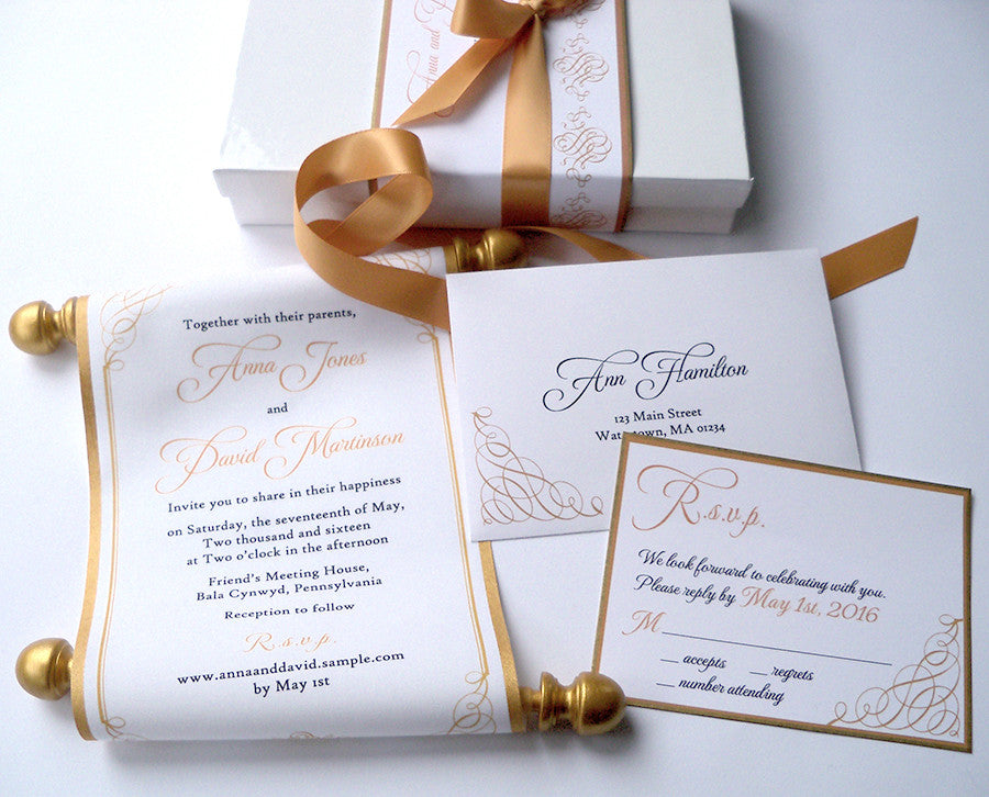 gold calligraphy wedding invitation scroll suite - Wedding Invitation Calligraphy