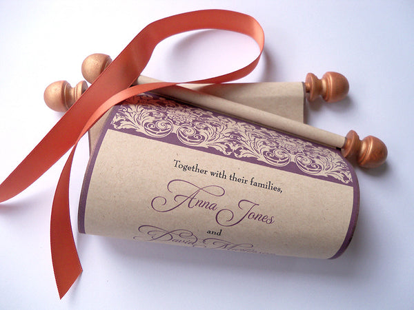 Vineyard wedding invitation scroll on kraft paper with copper finials, set of 10
