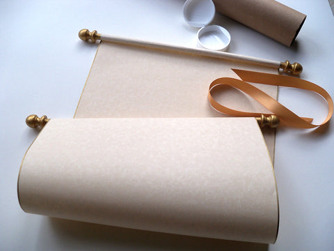 "Extra wide blank parchment paper scroll with gold accents for wedding guest list, theater production, school project, religious event or special presentation, 11x19""parchment paper"
