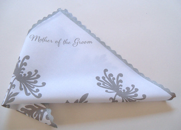 Mother of the groom handkerchief with dahlias in grey and silver