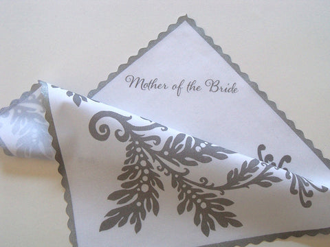 Mother of the bride handkerchief with dahlias in grey and silver