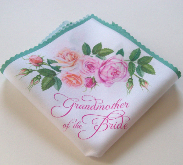 Grandmother of the bride handkerchief with watercolor roses in pink and peach