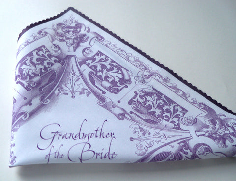 Grandmother of the bride handkerchief in plum, medieval wedding