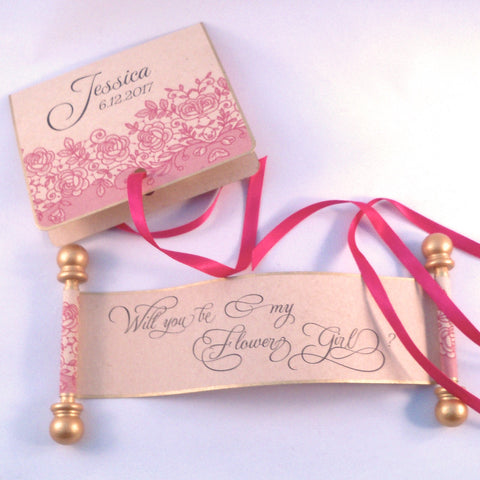 Will you be my flower girl invitation with pink lace on mini scroll