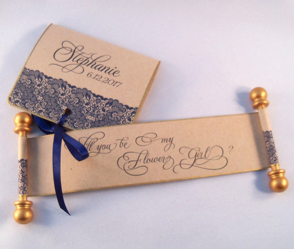Will you be my flower girl invitation with navy lace on mini scroll