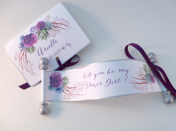 Will you be my flower girl invitation with watercolor succulents on a mini scroll