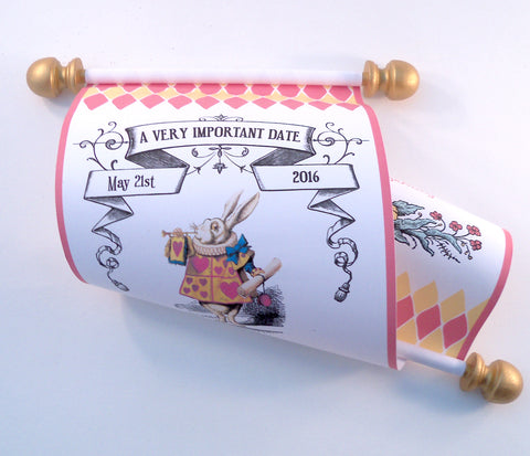 Alice in Wonderland Bat Mitzvah invitation scroll, set of 10