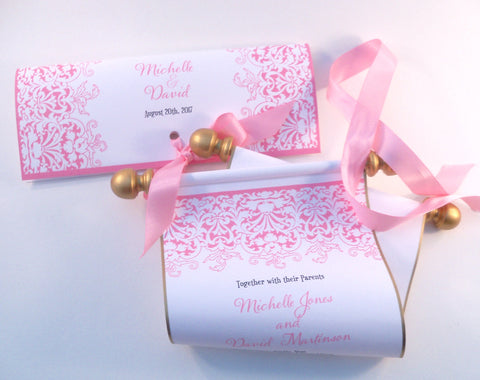 Princess wedding invitation scroll with pink and gold accents with folder, set of 10