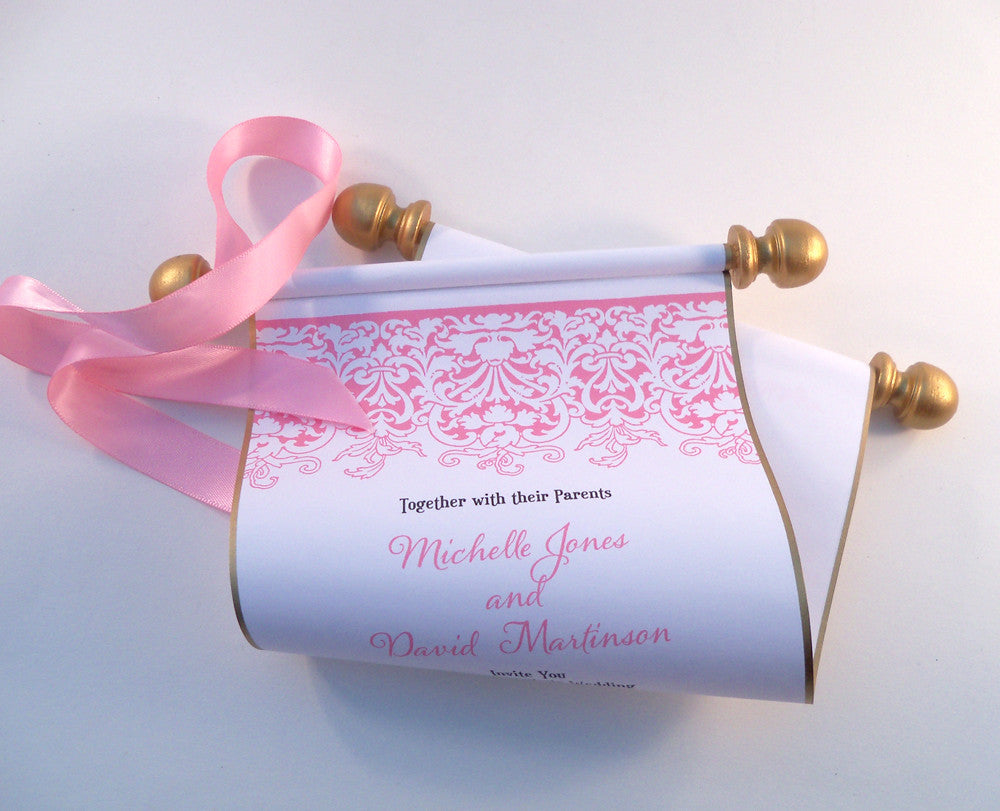 Princess wedding invitation scroll with pink and gold accents ...