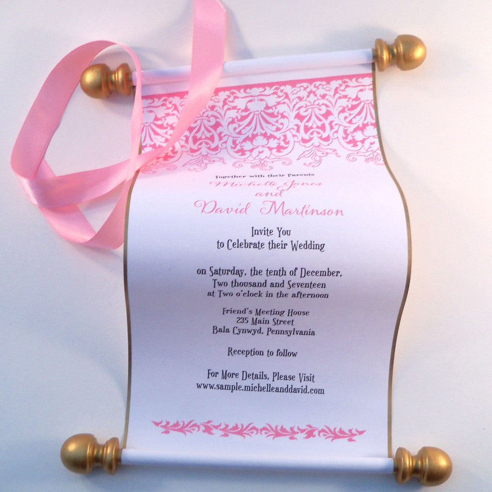 Princess wedding invitation scroll with pink and gold ...
