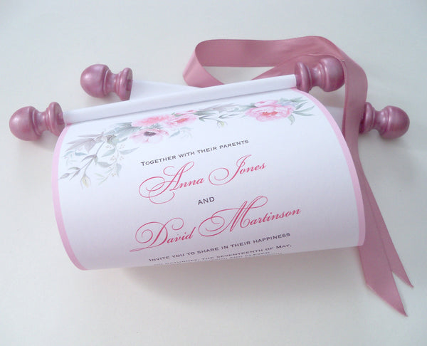 Pink Peonies wedding invitation scroll, set of 10