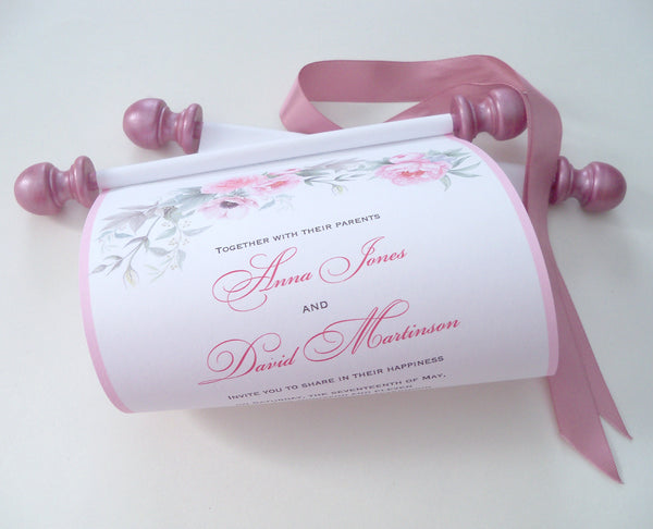 Peonies wedding invitation scroll in pink blush, set of 5 paper scrolls