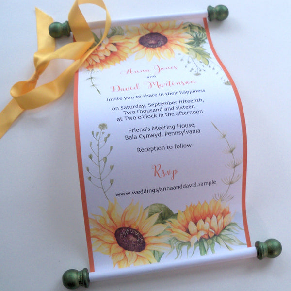 Sunflowers wedding invitation scroll for a rustic autumn wedding, set of 10
