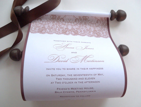Fall lace wedding invitation scroll in brown and gold, set of 10