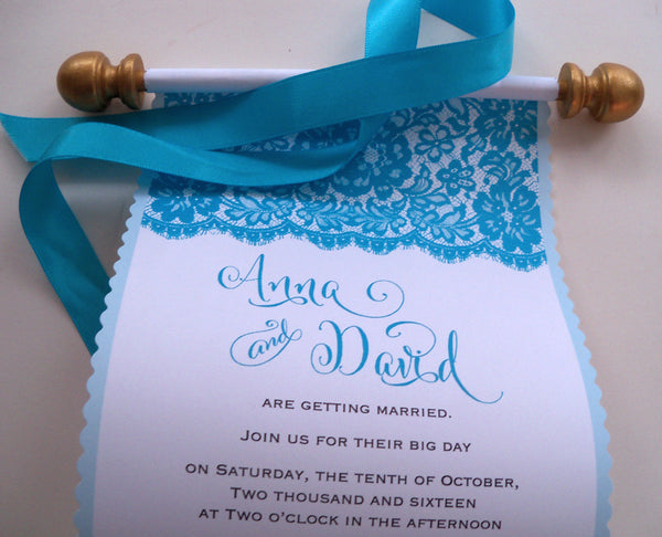 Lace wedding invitation scroll in turquoise and gold, set of 10