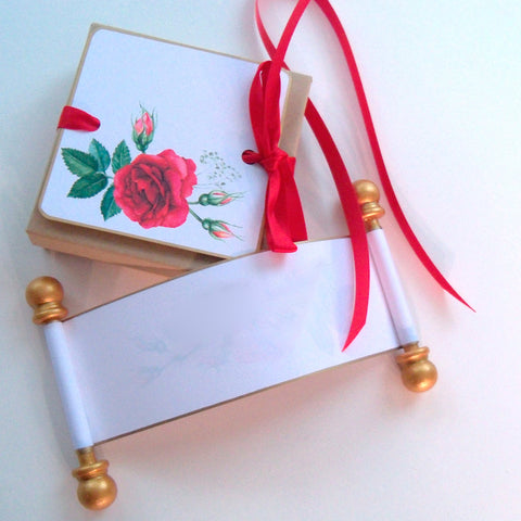 Blank Valentine's Day mini scrolls with red roses and presentation box, set of 6