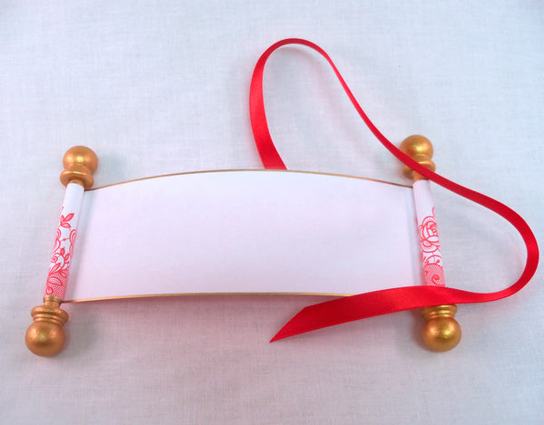 Blank mini scrolls with red lace print and presentation boxes, set of 6