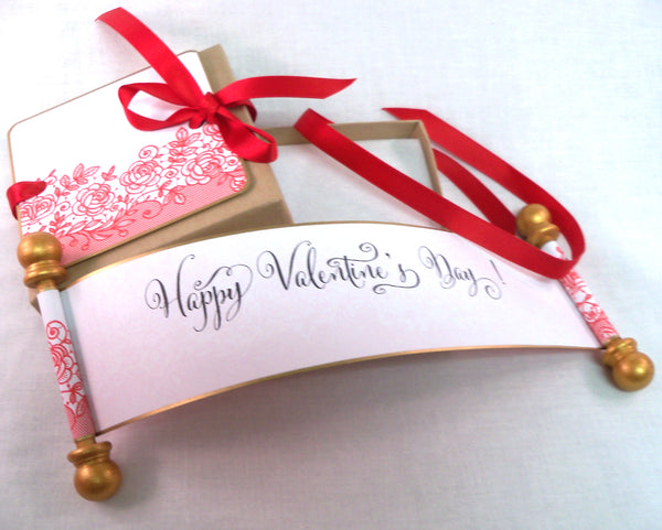 Happy Valentine's Day! mini scroll with red lace print and presentation box, set of 5