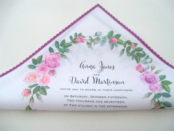 Pink roses wedding invitation handkerchief, watercolor roses in pink blush and lavender, set of 10