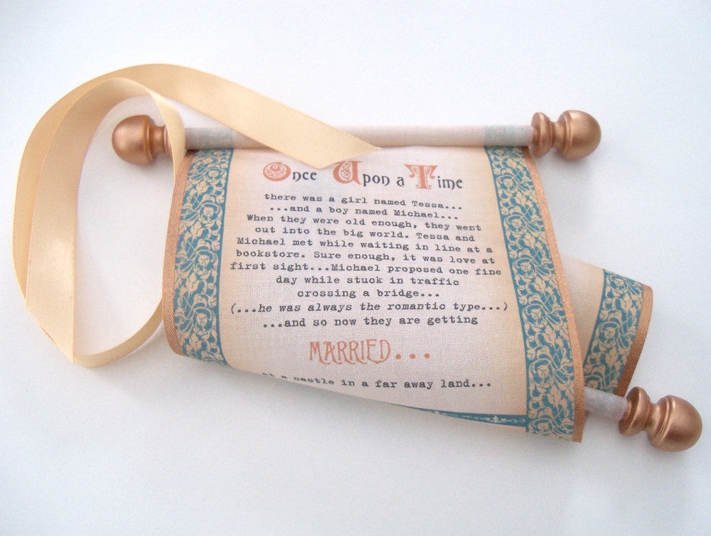 Scroll wedding invitations with medieval castle theme – Artful ...