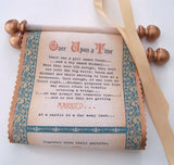 Scroll wedding invitations with medieval castle theme on cotton fabric in copper and teal, set of 5