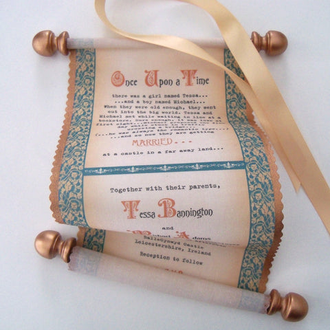 Scroll wedding invitations with medieval castle theme on cotton fabric in copper and teal, set of 10
