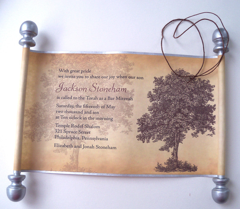 bar mitzvah invitation suite tree design with scroll inserts and