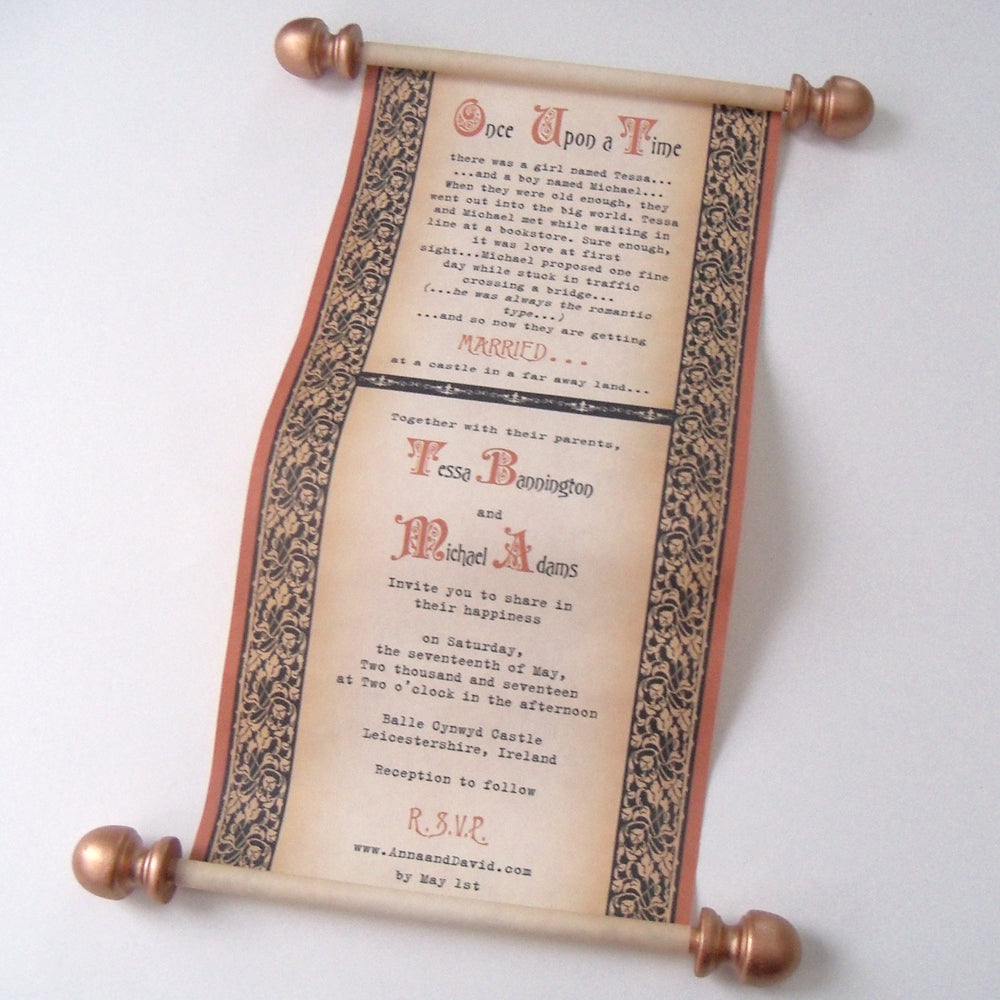 Once upon a time storybook fantasy wedding invitations royal throne