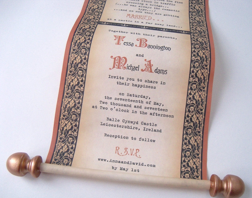 Medieval theme wedding invitation scrolls in copper and black