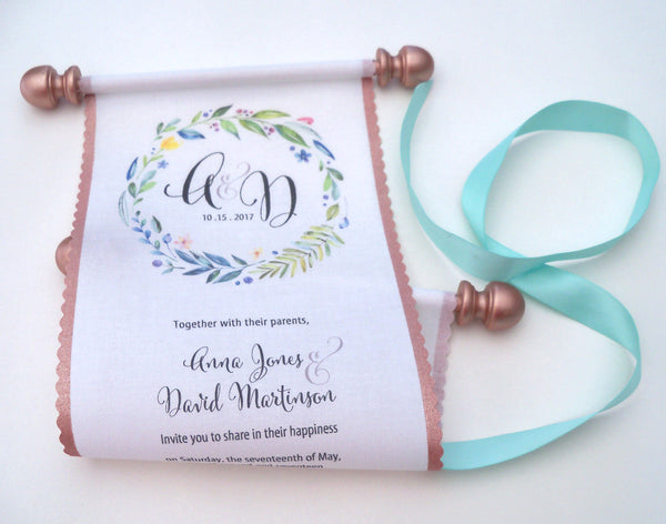 Scroll wedding invitations with monogram, a greenery wreath and metallic rose gold accents, set of 5