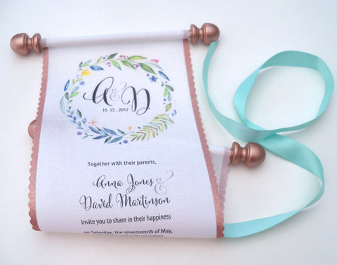 Scroll wedding invitations with monogram, a greenery wreath and metallic rose gold accents, set of 10