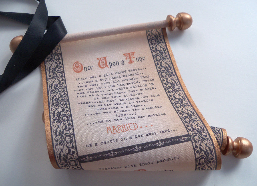 Medieval theme wedding invitation scrolls in copper and black ...