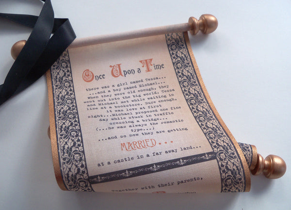 Medieval theme wedding invitation scrolls in copper and black on cotton fabric, set of 5