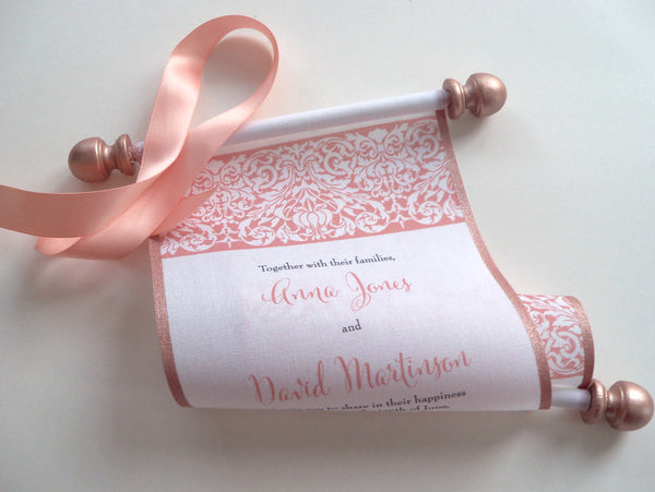 Scroll wedding invitations in peach and metallic rose gold, set of 5