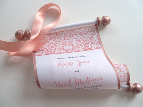 Scroll wedding invitations in peach and metallic rose gold, set of 10