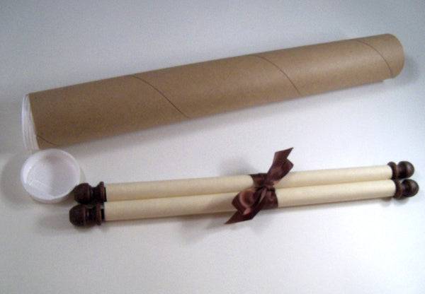 "Extra wide blank parchment scroll with stained brown finials and gold edging, 11x19""paper, storage tube"