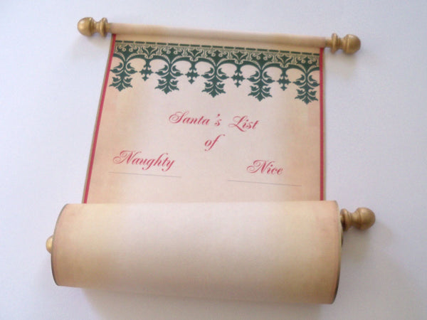 "Santa's List of Naughty or Nice, wide blank scroll, Nordic design, 8x19"" aged parchment paper, with red storage tube"