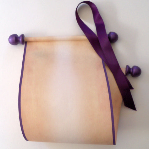 "Blank scroll on aged parchment paper with purple accents, kraft box, 5x12"" paper"