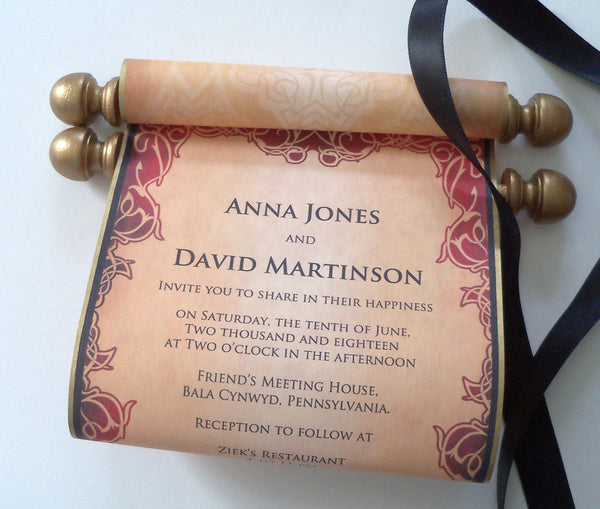 Medieval fantasy wedding invitation scrolls, red gold and black, set of 25